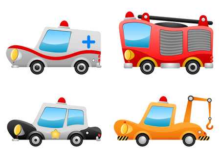 emergency services: vehicle illustrations Illustration