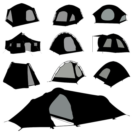 camping tent set Stock Vector - 8764915