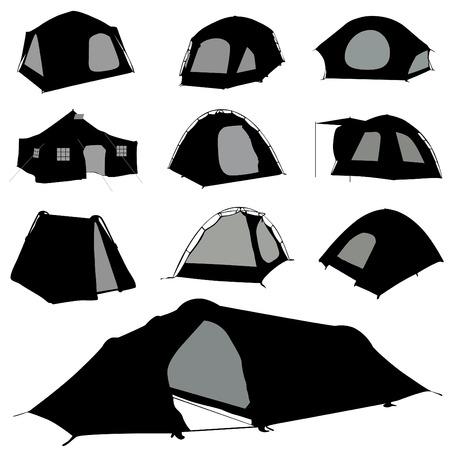 палатка: camping tent set Иллюстрация