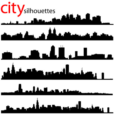 city silhouettes great set  Stock Vector - 8764926