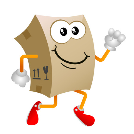 moving crate: cardboard cartoon character Illustration