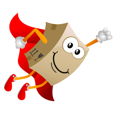 send parcel: cardboard cartoon character  Illustration