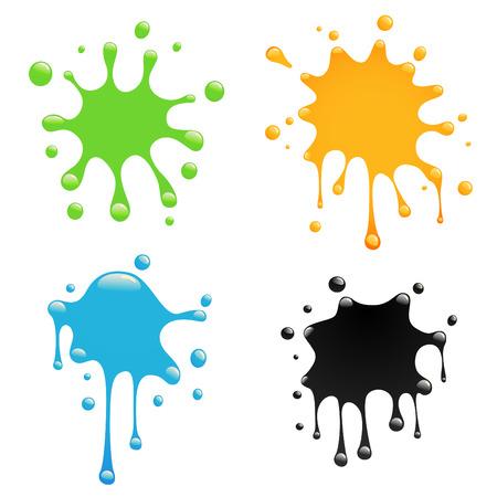 ink splash: colorful splash set  Illustration