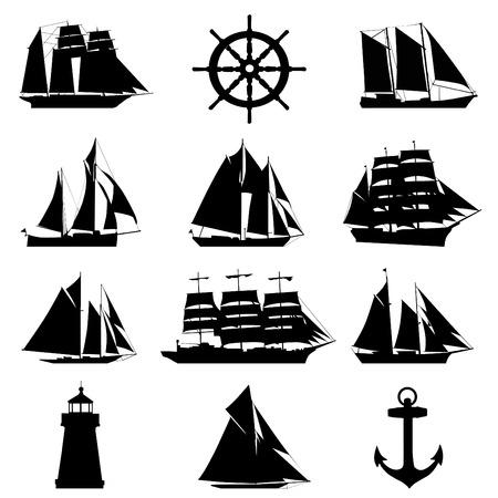 rudder: elementi nautici  Vettoriali