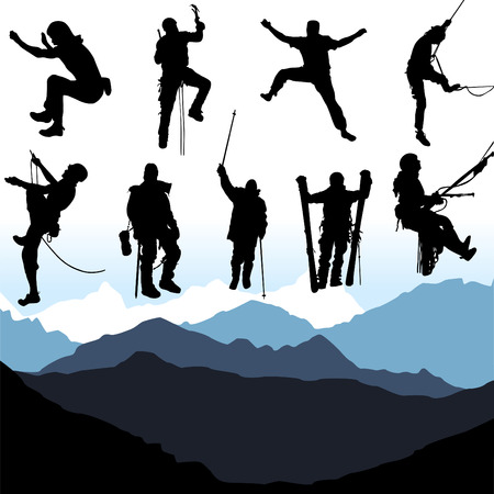 climbing mountain: climbers and mountain set