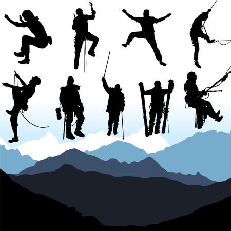 stijger: klimmers en berg set Stock Illustratie