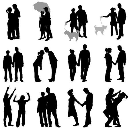 siluetas de enamorados: pareja