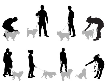 dog leashes: people with dogs