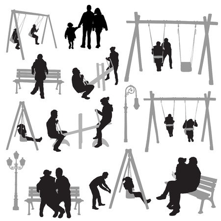 family park: couple people in park  Illustration