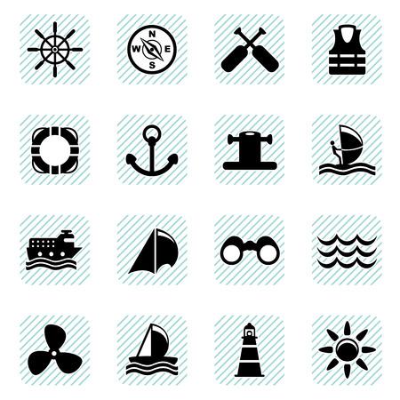 sailing icons set  Vector
