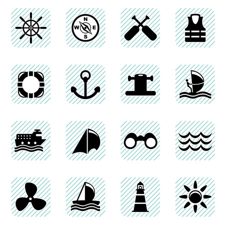 marine life: sailing icons set