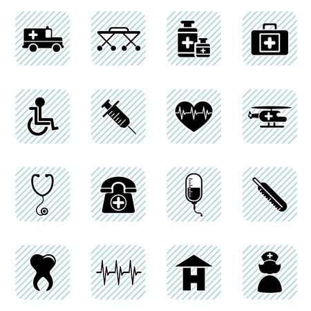 emergency vehicle: set di icone medica