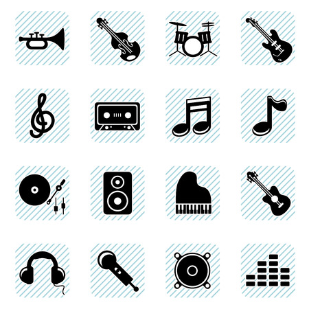 dj turntable: music icons set  Illustration
