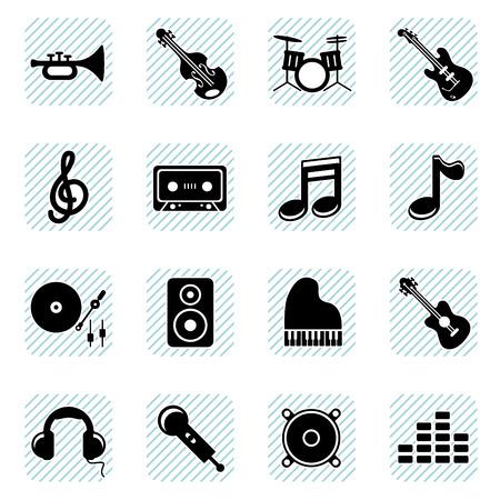 cassette: music icons set  Illustration