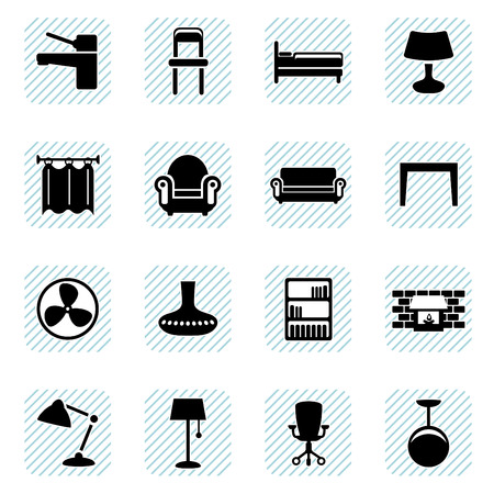 table and chairs: furniture icons set  Illustration