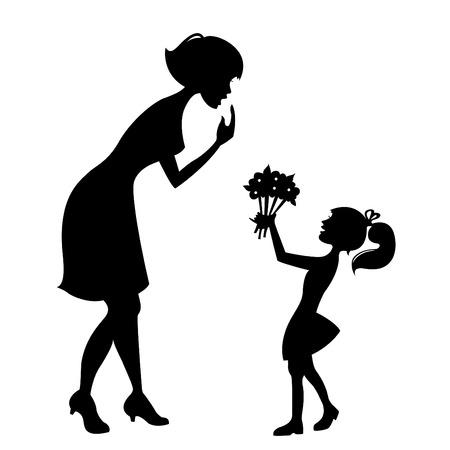 silueta ni�o: madre con ni�o