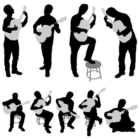 musician silhouette: musician set  Illustration