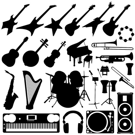 drum and bass: music instrument set  Illustration