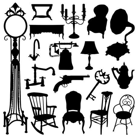 muebles antiguos: conjunto de objetos antiguos