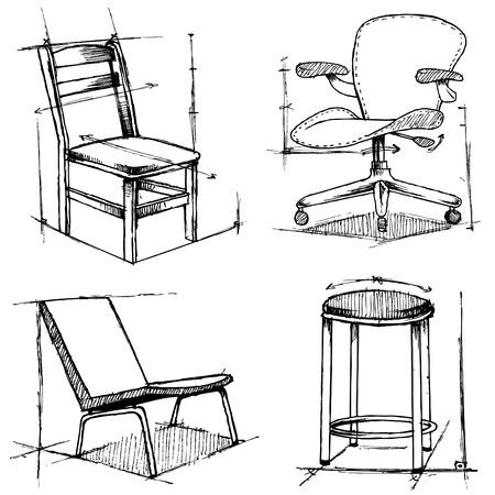 Stuhl: St�hle-Zeichnungen