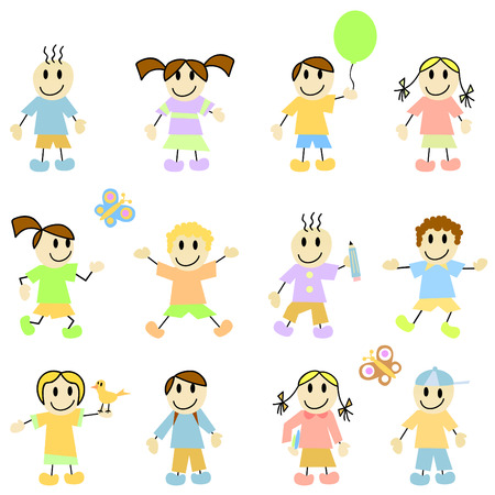 set of cartoon children Stock Vector - 8764947