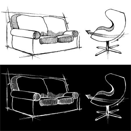 sgabelli: disegni di sedie Vettoriali