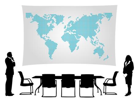 Business-Leute treffen vor der Weltkarte  Vektorgrafik