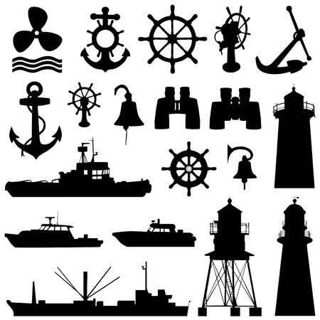 kijker: de grote reeks nautische elementen  Stock Illustratie