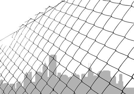 chained link: chain link fence with city silhouette