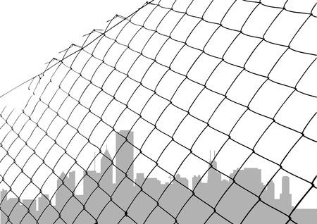geketend: ketting link hek met stad silhouet  Stock Illustratie