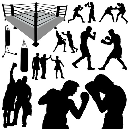 boxing glove: boxing silhouettes  Illustration