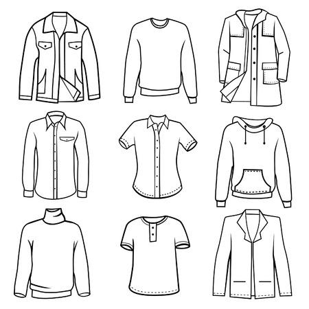 in shirt: ropa hombres establece vector  Vectores