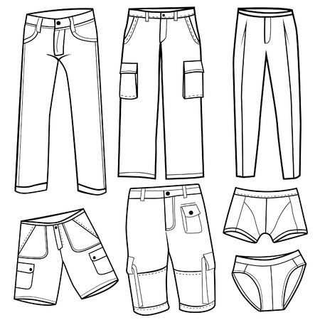 men s trousers, short and underwear set vector