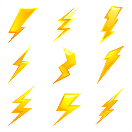 powerful lightning bolts. vector set