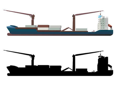 import trade: container ship vector