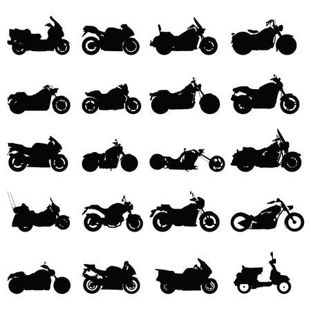 silueta moto: motocicleta establece vector  Vectores
