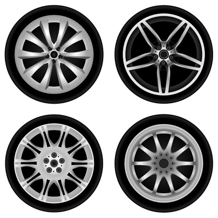 alloy wheel: sporty aluminum wheel vector