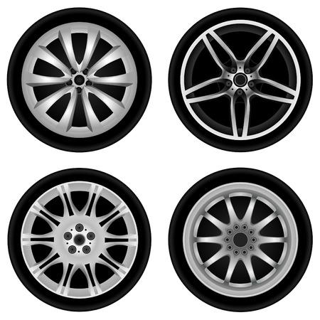 aluminum wheels: vector de ruedas de aluminio deportivo  Vectores