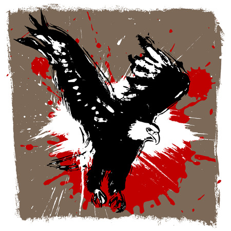 the air attack: eagle grunge design vector  Illustration