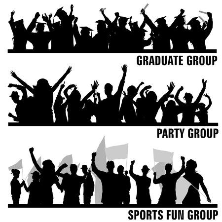 fondo de graduacion: conjunto de vectores de los pueblos de grupo  Vectores