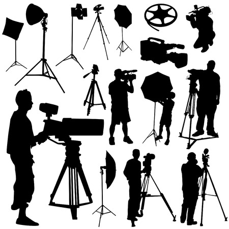 electronic survey: cameraman and film objects vector  Illustration