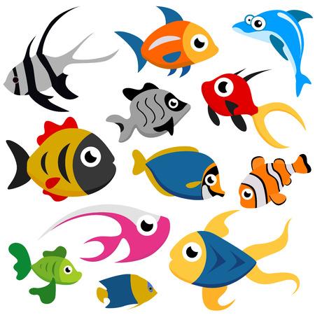peces de acuario: vector conjunto de dibujos animados peces  Vectores