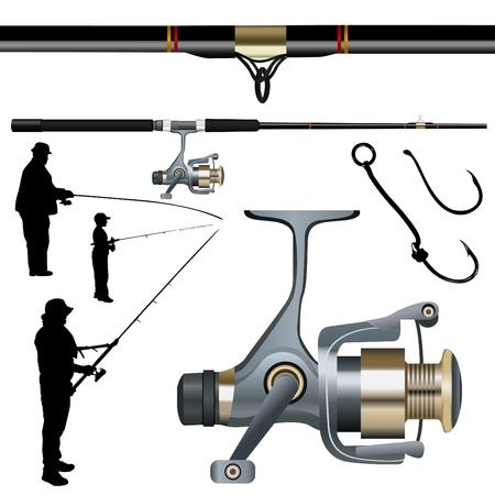 fishing pole: fishing rod, reel, hook