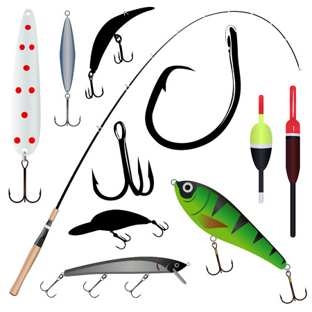 fishing rod, hook 2  Vector