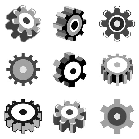 metal working: gear wheel icons vector