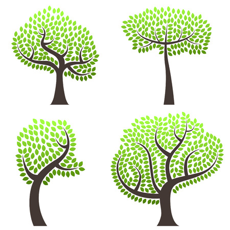 abstract tree set Stock Vector - 8883072