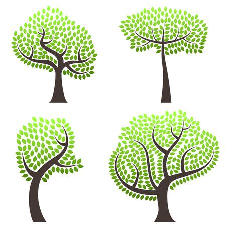 abstract tree set Stock Vector - 8883072