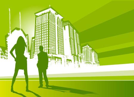 panoramic sky: city life vector  Illustration