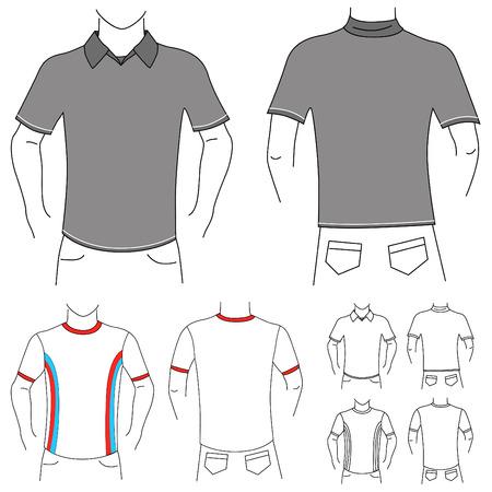 ポロ: ブランク t シャツ セット  イラスト・ベクター素材
