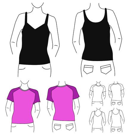 blank t shirt: blank t shirt set (woman) Illustration